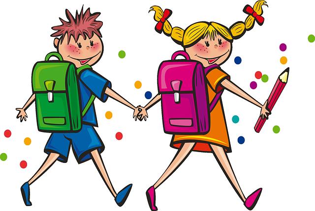 kreslený obrázek radostných dětí jdoucích do školy